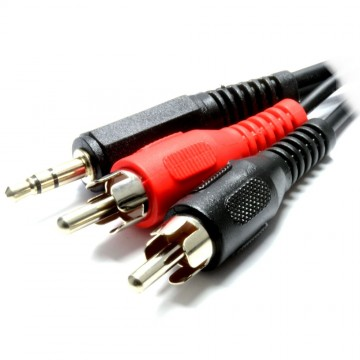 3.5mm Stereo Jack to 2 RCA Phono Plugs Audio Cable Lead Nickel 3m