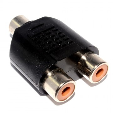 RCA Phono Twin Sockets to 3.5mm Mono Jack Socket Adapter