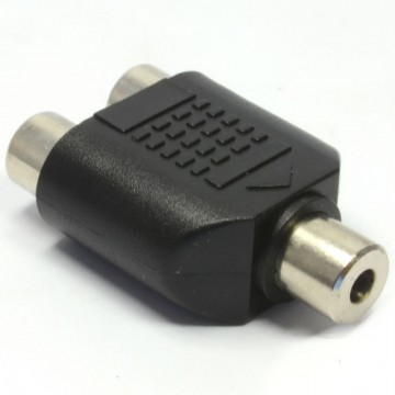 RCA Phono Twin Sockets to Stereo 3.5mm Jack Socket Adapter