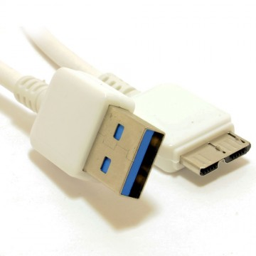 HQ USB 3.0 SuperSpeed A to 10 pin Micro B Male Cable WHITE 0.5m