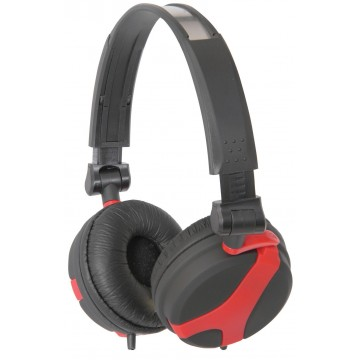 QTX QX40 Stereo OFC Leather Cushioned Foldable Headphones Red...