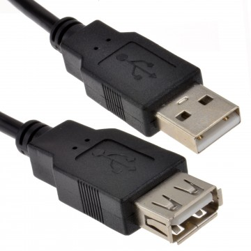USB 2.0 High Speed Cable EXTENSION Lead A Plug to Socket BLACK 0.25m