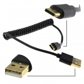 Coiled Shielded USB 3.1 Type C Data 22 AWG Cable BLACK 1m GOLD