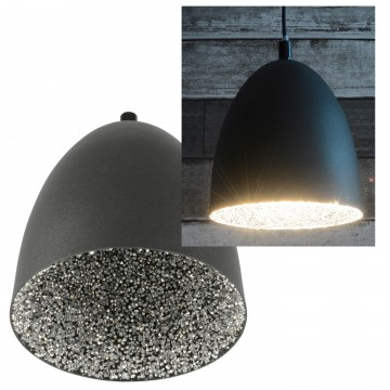Dome Pendant (Metal) Light E27 Fitting with Crystal-Effect Inner