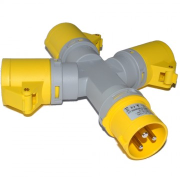 Industrial Site Power 110V 16A Splitter 1 to 3 Sockets IP44 Yellow