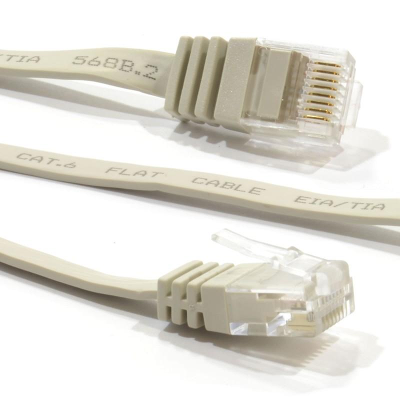 FLAT CAT6 Ethernet LAN Patch Cable Low Profile GIGABIT RJ45 15m BEIGE