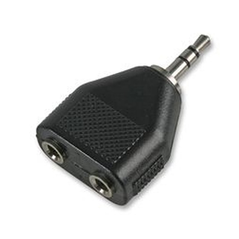 Dual 3.5mm Mono Sockets to 3.5mm Stereo Jack Audio Adapter