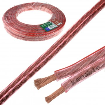 Speaker Cable 14AWG 2.5mm2 Thick CCA 142 x 0.15mm2 Wire Clear  10m