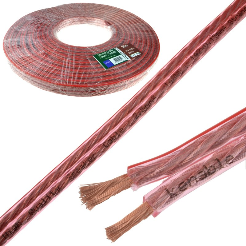 Speaker Cable 14AWG 2.5mm2 Thick CCA 142 x 0.15mm2 Wire Clear  20m