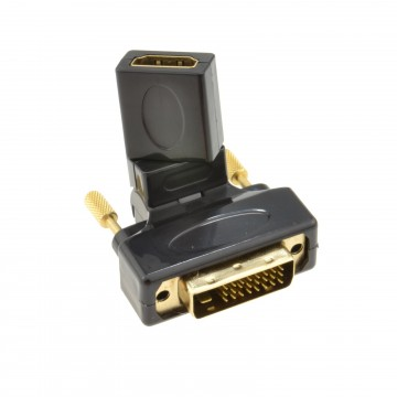 Rotating Multi-Angle Female HDMI to Male DVI-D Plug 24+1 pin Adapter