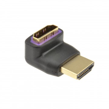 Slimline HDMI Male to Female Right Angled Adapter 270 Degrees GOLD
