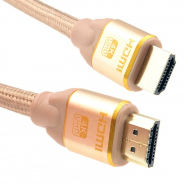 PURE HDMI 2.0b 2160p 4k UHD TV Braided High Speed Cable Lead Gold 3m