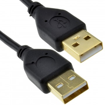 GOLD USB 2.0 A to A (Male to Male) High-Speed BLACK Cable...