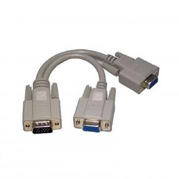 SVGA Monitor Splitter 2 way Cable 1 x HD15 Plug to 2 x HD15 Sockets