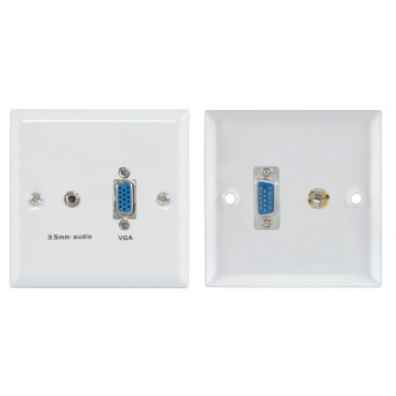 Flush Mount Wall Faceplate For 15pin VGA and 3.5mm Jack Audio...