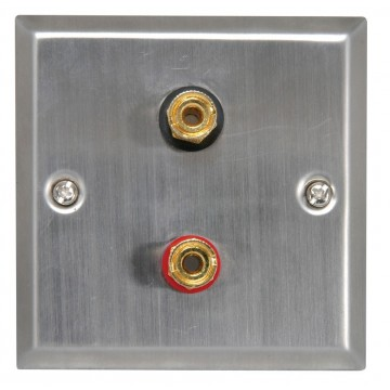 Flush Wall Mount Steel Speaker 2 x 4mm Gold Binding Post...
