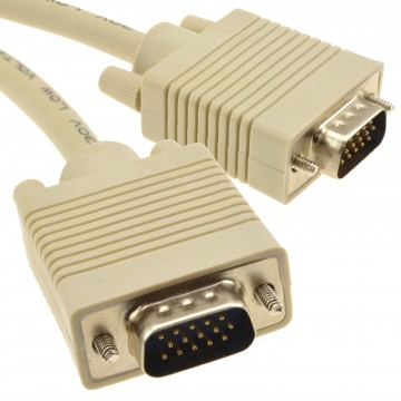 SVGA Cable HD15 Male to Male PC to Monitor Lead 25m Beige