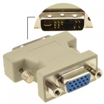 HQ DVI Adapter - DVI-I Male Plug to VGA SVGA Female 15 pin Socket