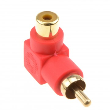 Right Angled RCA Phono Adapter Red Audio Plug to Socket Gold Plated