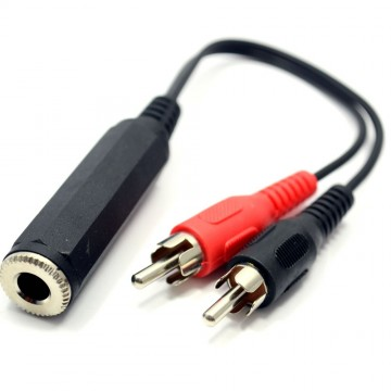 Pro Signal 2 x Phono Plugs to MONO 6.35mm Jack Socket Cable 20cm