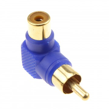 Right Angled RCA Phono Adapter Blue Audio Plug to Socket Gold Plated