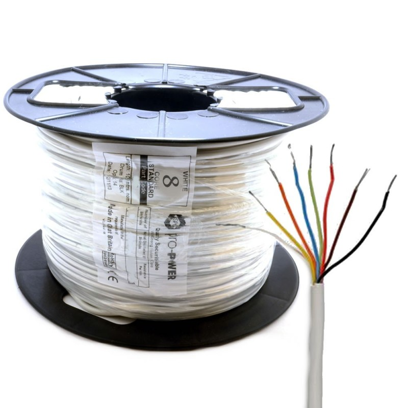 Alarm Security & Signal Cable 8 Core COPPER 100m Reel White