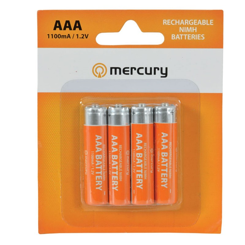 Mercury AAA Rechargeable NiMH 1100mA 1.2V Batteries 4 Pack