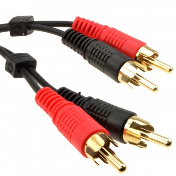 RCA Phono Twin Plugs to Plugs Stereo Audio Cable Lead GOLD 20m