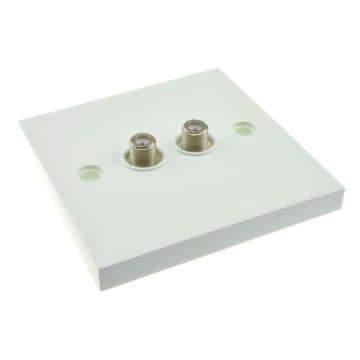 Dual F Type Socket FLUSH Faceplate for Sky/SkyHD Satellite...
