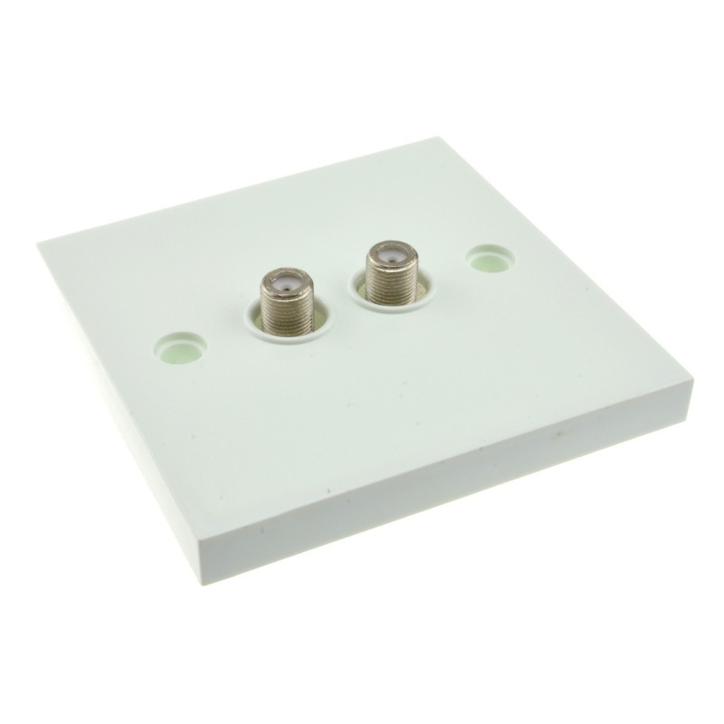 Dual F Type Socket FLUSH Faceplate for Sky/SkyHD Satellite Outlets
