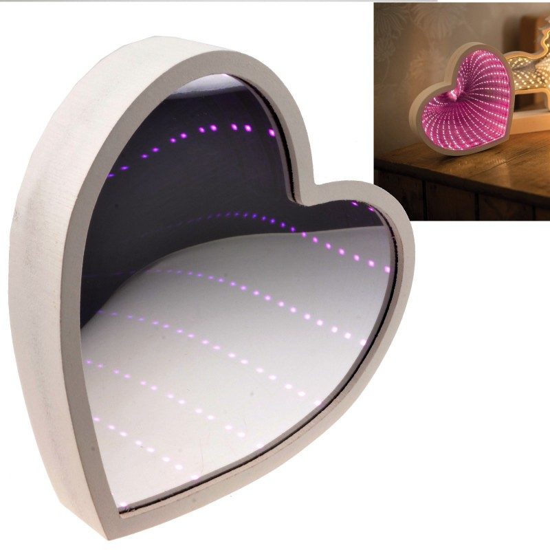 Infinity Mirror Battery Powered Pink LED Light Wooden Heart Shaped
