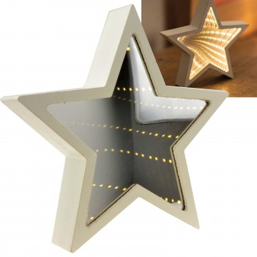 Infinity Mirror Battery Powered Warm LED Light Wooden Star Shaped