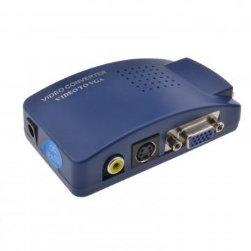 EU Yellow Composite RCA/SVHS to VGA Converter Adapter CCTV/Analogue