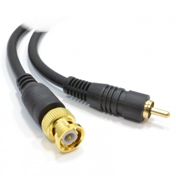 Pure Copper CCTV BNC to Phono Plug Cable Gold Connectors  3m
