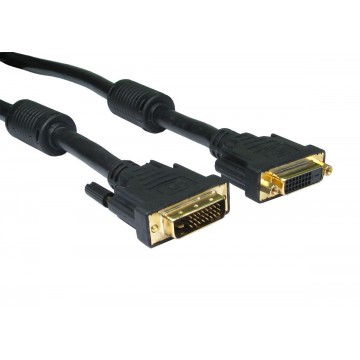 DVI-D 24+1 Male to Female Dual Link Gold Extension Cable 5m