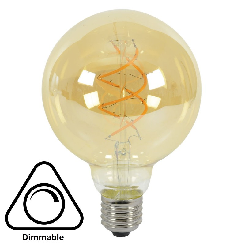 G95 Spiral LED Filament Vintage Warm Light Bulb E27 5W (50W) Dimmable