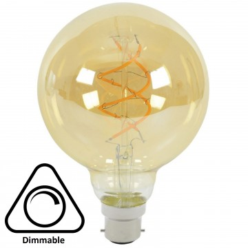 G95 Spiral LED Filament Vintage Warm Light Bulb B22 5W (50W) Dimmable