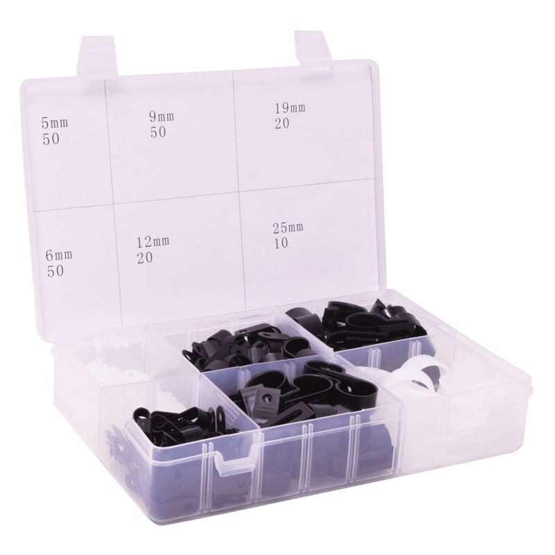 200 Piece Assorted P Shaped Nylon Clips 5/6/9/12/19/25mm White & Black