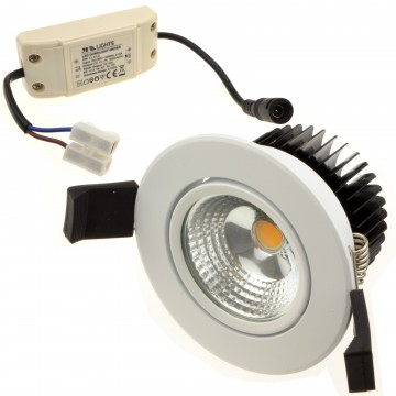 COB 5W Dimmable Warm White LED Tilting Spotlight & Driver...