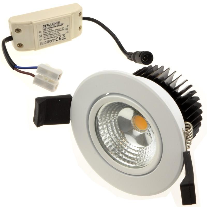 COB 5W Dimmable Warm White LED Tilting Spotlight & Driver Brush WHITE