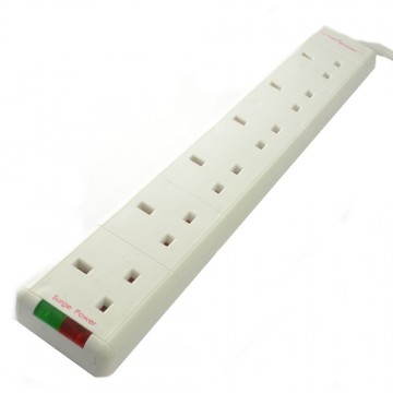 Surge Protected 6 Gang Way Mains Extension Socket UK 13A 5m...