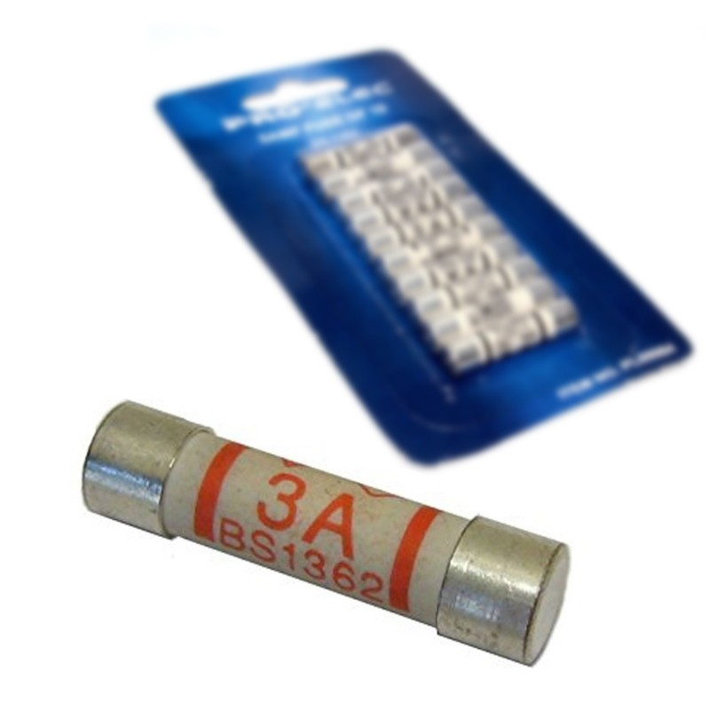 Mains Fuse 3A 3 Amp BS1362 Household Fuse for Domestic Plugs [10 Pack]