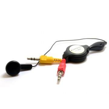 Ear Piece with Microphone to 2 x 3.5mm Jacks Retractable Cable 1m