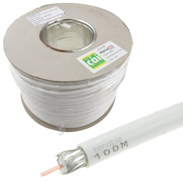 LCC100 HD TV Satellite Coax or POC CCTV Cable Copper White 100m