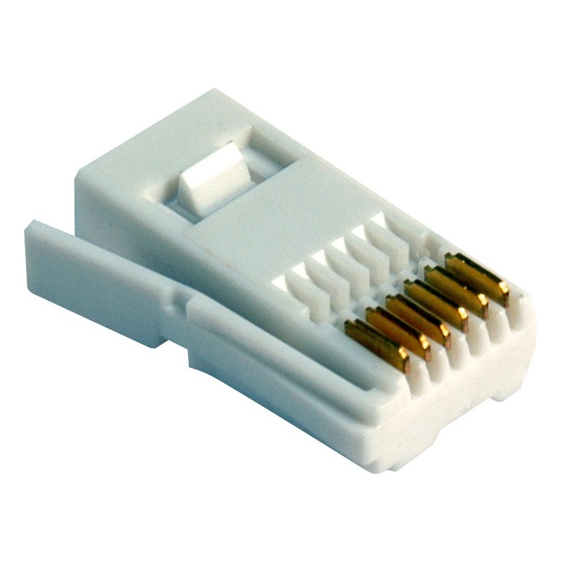 BT Telephone 6 wire Line Plug End White for Business Lines (10 Pack)