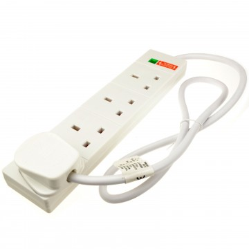 Surge Protected 4 Gang Way Mains Extension Socket UK 13A White...