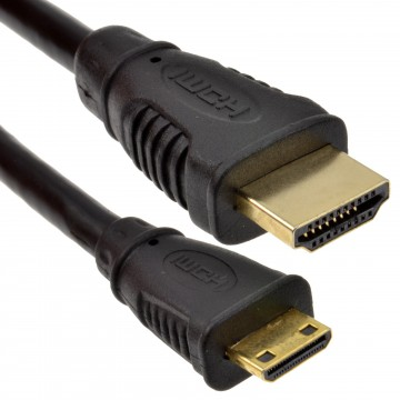 Mini HDMI Type C Male Plug to HDMI Male Cable Lead GOLD  1m