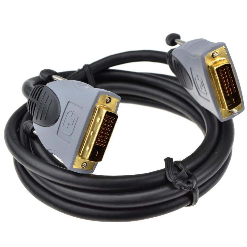 PURE DVI-D 24 + 1 pin Male to Male Cable Dual Link Lead Black GOLD 2m