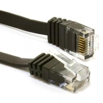 FLAT CAT6 Ethernet LAN Patch Cable Low Profile GIGABIT RJ45 15m BLACK