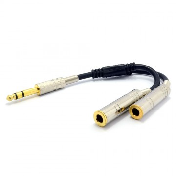 PRO 6.35mm Stereo Jack Splitter Cable Adapter Lead Plug to 2 x...